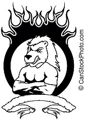 lion mascot muscle crest shield