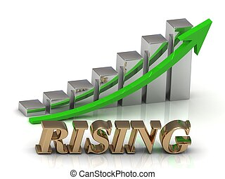 RISING- inscription of gold letters and Graphic growth and...