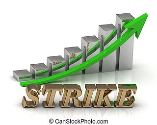 STRIKE- inscription of gold letters and Graphic growth and...