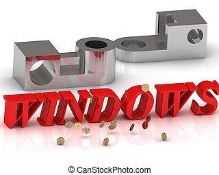 WINDOWS-, inscrição, de, vermelho, letras, e,...