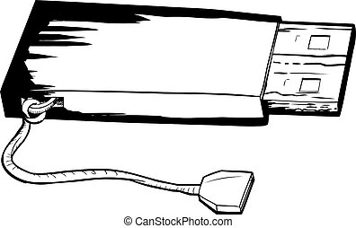Flash Drive with String Outline - Outlined illustration of...
