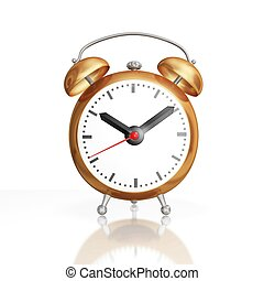Antique Style Copper Alarm Clock - Front view render of a 3D...