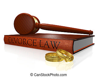 Divorce Law Book Gavel and Wedding Bands - A 3D illustration...