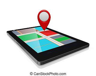 GPS, mapa, marcador, en, Un, elegante, teléfono,...