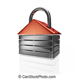 House Shape Security Padlock - A 3D illustration of a...
