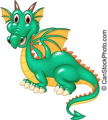 Cartoon happy green dragon isolated - Vector illustration of...