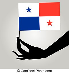 Hand with Panama flag - Flag of Panama in a female hand....