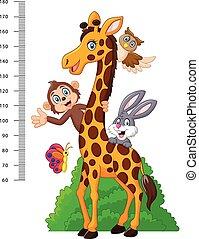 divertido, niños, escala,  animal, altura