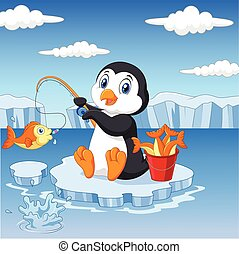 Cartoon penguin fishing on the ice - Vector illustration of...