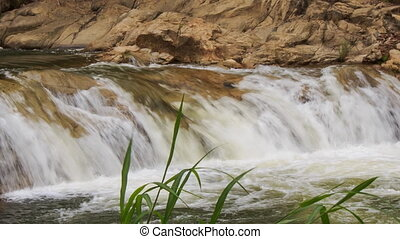 stream falls against rocks plant stalks at foreground in...