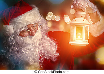 Santa Claus - Portrait of Santa Claus with lantern in hand.