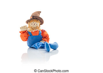 Friendly Seasonal Holiday Scarecrow In Overalls - Cute and...