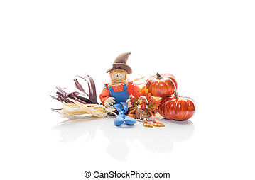 Scarecrow And Turkey Friends - Holiday scarecrow and turkey...