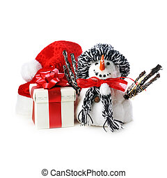 snowman and giftbox on white background