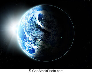 planet earth -  blue  planet earth  in space.
