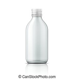 Glass medical bottle with screw cap. - Template of empty...