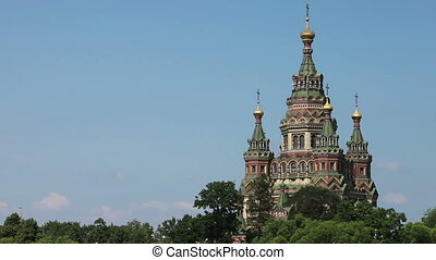 Russia, Peterhof and Church of St Peter and Paul Church -...