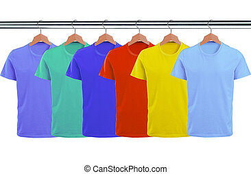 Lots of T-shirts on hangers isolated on white background