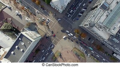 Video footage shot on quadrocopter nadir of Kiev downtown -...
