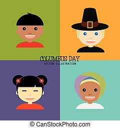 Columbus Day - abstract columbus day background with four...