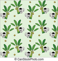 elephant and banana tree pattern vector illustration