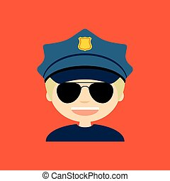 Police Officer - abstract police officer on a orange...