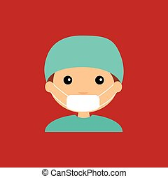 Surgeon - abstract cute surgeon on a red background