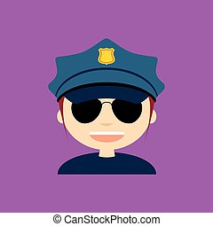 Police Officer - abstract cute police officer on a purple...