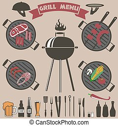 grill menu collection.eps - Bbq vintage set. Set of the bbq...