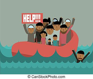 refugees.eps - Syrian refugees on boat.  Civil war in Syria