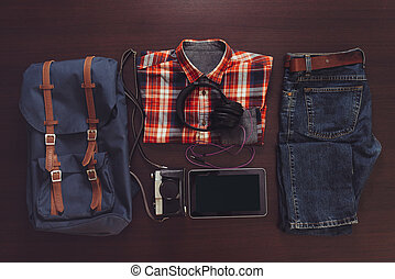 Set of male casual clothing, backpack and digital...