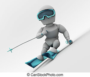 alpine skiing - 3D render of a man skiing