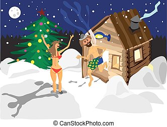 Drawing a man and a woman running away from the sauna on Christmas night in Russia