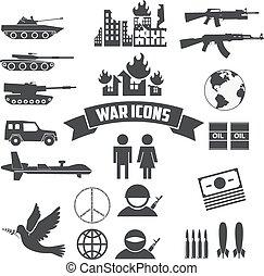 war icons.eps - War icons set. Civil war. International day...