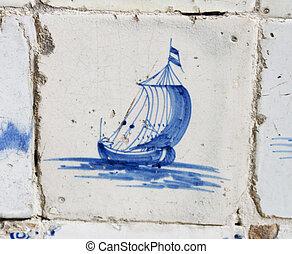 Vintage delft blue tile with Dutch sailing ship - Original...