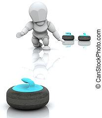 curling - 3D render of a man curling