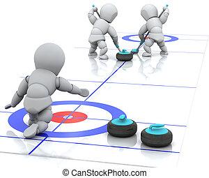 curling - 3D render of men curling