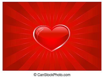 Red light burst with heart - Abstract background in shades...