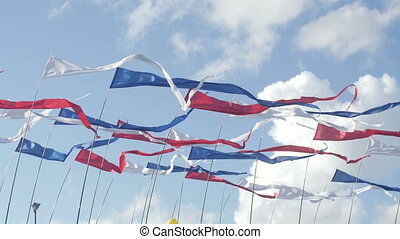 Waving flag of Russia on a sky background