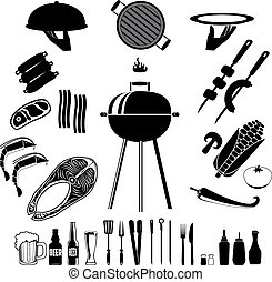 bbq and grill.eps - Bbq set. Set of the bbq and grill...