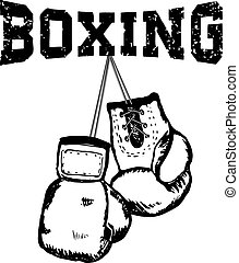boxing2.eps - Hand draw style boxing gloves. Grunge style...