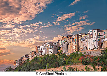 Italian hilltown Atessa - landscape at sunset under a...