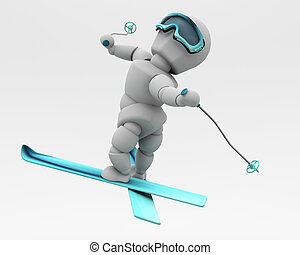 freestyle skiing - 3D render of a freestyle skier doing...