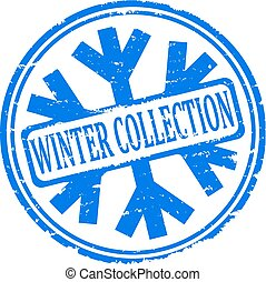 Damaged blue stamps - winter collec - Damaged round blue...
