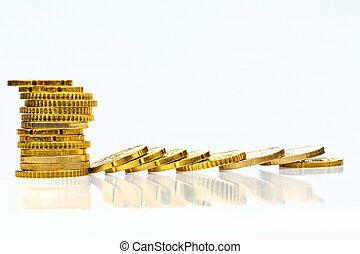 coins stacked up and lying down - stacked and lying coins...