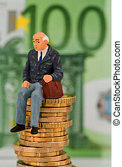 pensioners sitting on money stack, symbol photo for pension,...