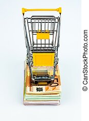 shopping cart on banknotes - shopping cart stands on...