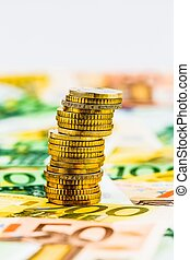 single stack coins - single stack of money coins photo icon...