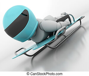 skeleton bobsleigh - 3D render of a man competing in the...