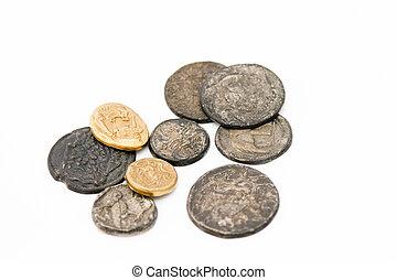 antigüidade, romana, moedas